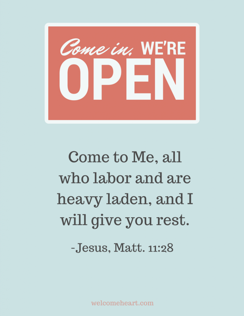 Come to Me... Matthew 11:28 #freeprintable #hospitality