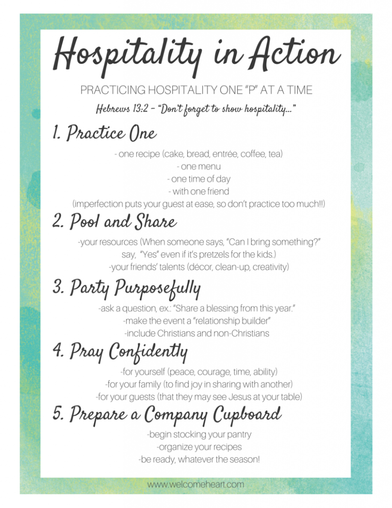 Hospitality in Action // free printable