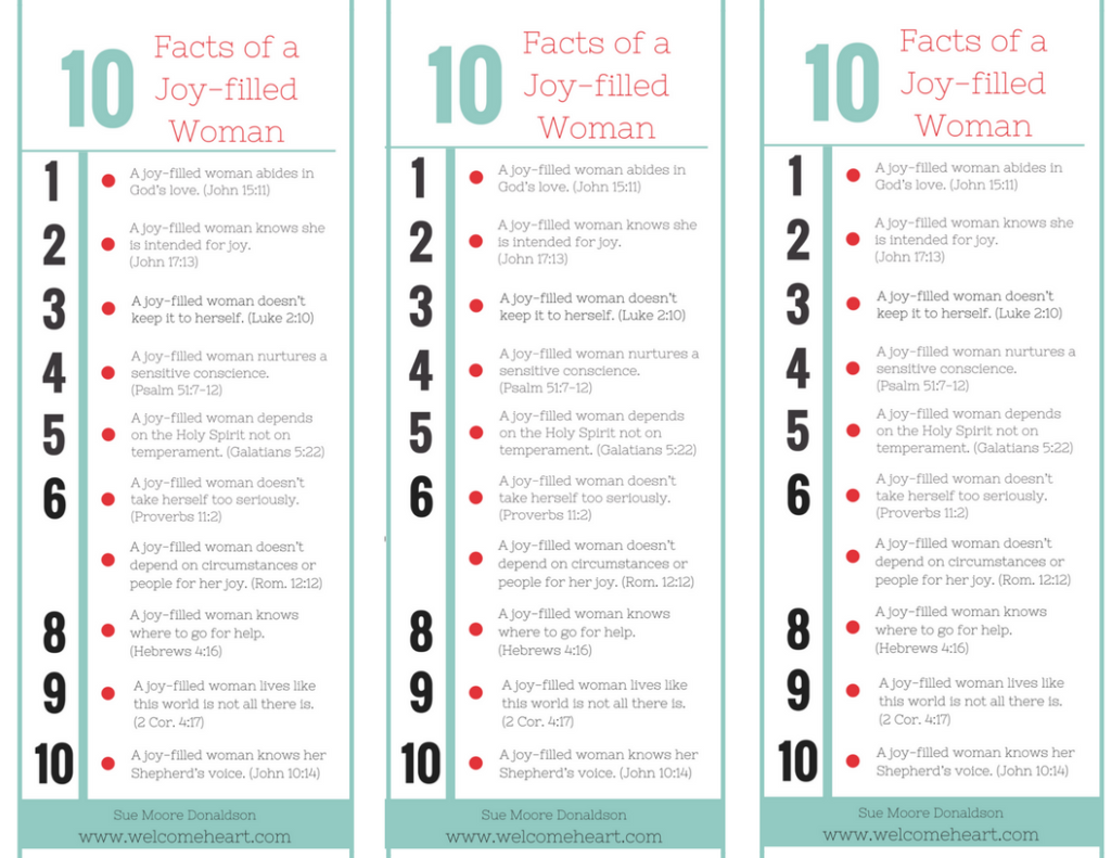 10 Facts of a Joy-Filled Woman Cut outs printable
