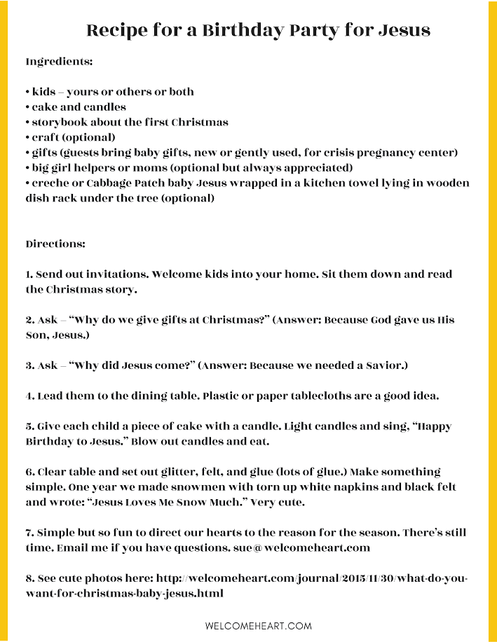 A Joy-filled Woman, Part II: Birthday Party for Jesus ~ Welcome Heart